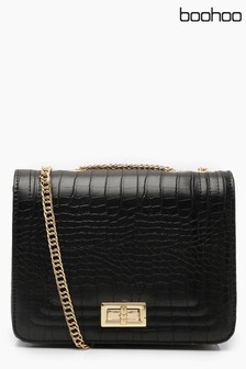 Boohoo Croc Chain Turnlock Crossbody Bag