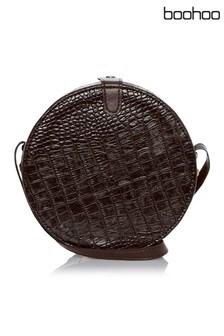 Boohoo Croc Round Drum Crossbody Bag