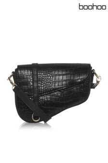 Boohoo Croc Saddle Bag