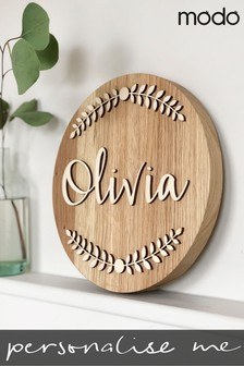 Personalised Wooden Wreath Name Plaque by Modo Creative