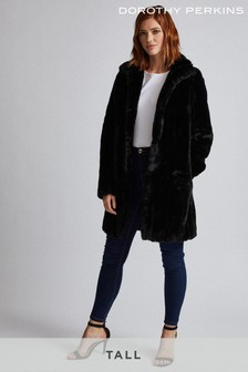 Dorothy Perkins Tall Longline Pelted Faux Fur Coat