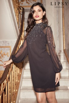 Lipsy Scatter Embellished Longsleeve Shift Dress