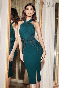 Lipsy Halter Sequin Cornelli Midi Dress