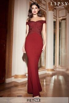 Lipsy Petite Lace Cornelli Bardot Maxi Dress