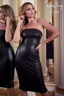 Abbey Clancy x Lipsy Faux Leather Bandeau Dress