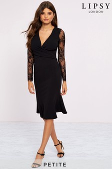 Lipsy Petite Longsleeve Eyelash Wrap Dress