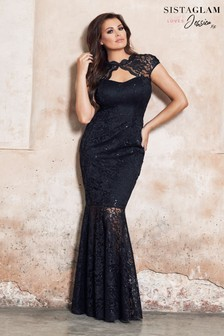 Sistaglam Loves Jessica Sequin Lace Keyhole Maxi Dress