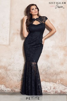 Sistaglam Loves Jessica Petite Sequin Lace Keyhole Maxi Dress