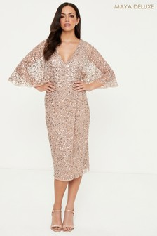 Maya Delicate Sequin Embellished Kimono Midi Dress