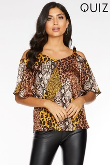 Quiz Animal Print Cold Shoulder Top