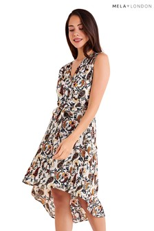 Mela London Side Waist Tie Printed Dress