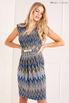 Mela London Bright Chevron Belted Dress