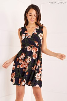 Mela London Blossom Rose Print Wrap Front Sleeveless Skater Dress