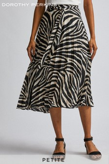 Dorothy Perkins Petite Abstract Pleat Midi Skirt