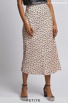 Dorothy Perkins Petite Spot Print Satin Midi Skirt