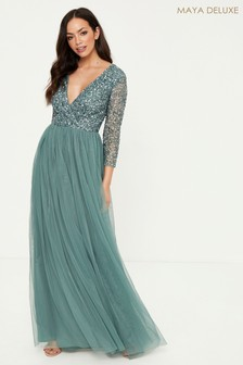 Maya Embellished 3/4 Sleeve Wrap Maxi Dress
