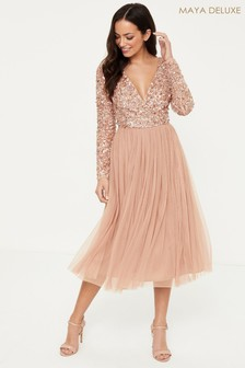 Maya Embellished Wrap Long Sleeve Midi Dress