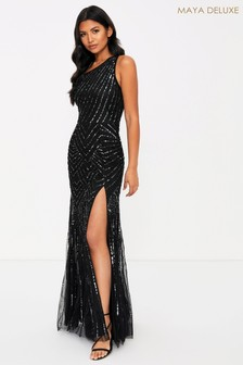 Maya One Shoulder Embellished Maxi Dress With Split Detail