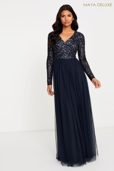 Maya V neck Long Sleeve Sequin Maxi Dress