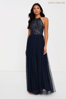 Maya Halter Neck Delicate Sequin Maxi Dress