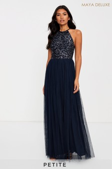 Maya Petite Halter Neck Delicate Sequin Maxi Dress