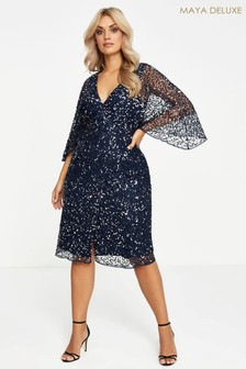 Maya Curve Sequin Embellished Midi Dress
