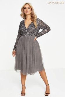 Maya Curve Embellished Wrap Midi Dress