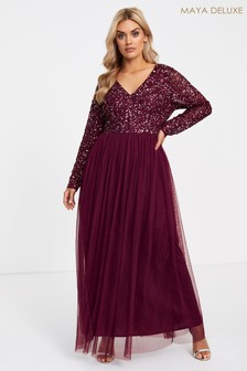 Maya Curve Long Sleeve Embellished Maxi Dress