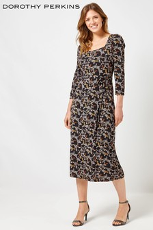 Dorothy Perkins Print Three Quarter Sleeve Jersey Midi Dress