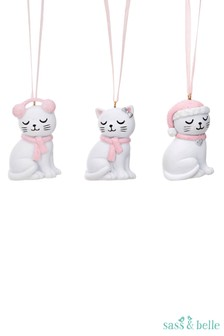 Sass & Belle Cutie Cat Christmas Bauble Set