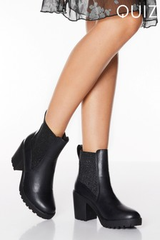 Quiz Faux Leather Glitter Elastic Chunky Heel Ankle Boots