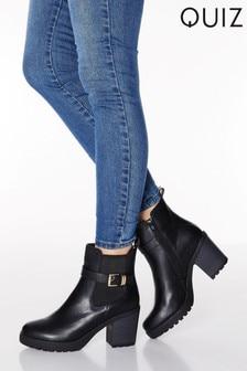 Quiz雙釦環裝飾彈力厚底高跟短靴