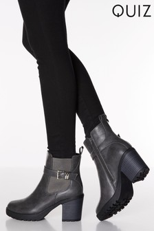Quiz Double Buckle Detail Elastic Chunky Heel Ankle Boots