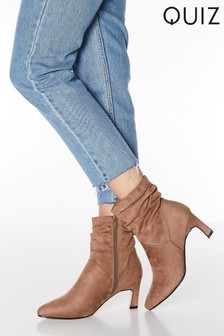 Quiz Faux Suede Ruched Pointed Toe Kitten Heel Ankle Boots