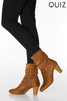 Quiz Faux Suede Ruched High Heel Ankle Boots