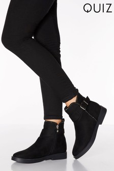 Quiz Faux Suede Stud Detail Buckle Ankle Boots