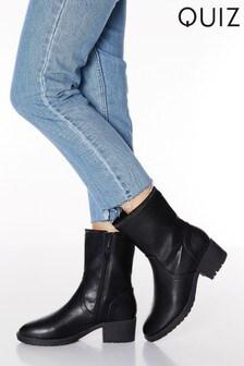 Quiz Faux Leather Diamanté Rim High Ankle Boots