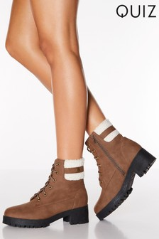 Quiz Faux Suede Fur Cuff Lace Up Hiker Boots