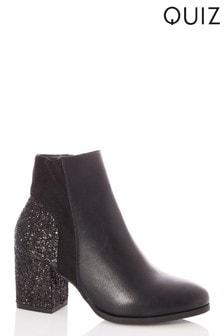Quiz Glitter Heel Mix Material Block Heel Ankle Boots