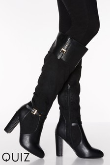 Quiz Faux Suede And Leather Mix Buckle Detail Knee High Heel Boots