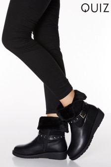 Quiz Faux Leather Fur Lined Studded Mini Wedge Boots