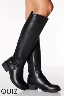 Quiz Faux Leather Glitter Block Heel Knee High Boots