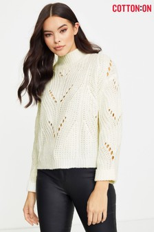 Cotton On 3 Perry Pointelle Mock Neck Jumper