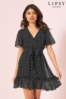Lipsy Printed Belted Mini Dress