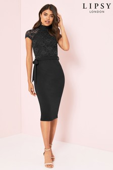 Lipsy Lace High Neck Midi Dress