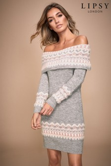 Lipsy Fairisle Bardot Tunic Dress