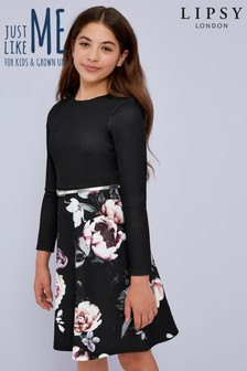 Lipsy Girl Long Sleeve Belted Floral Dress