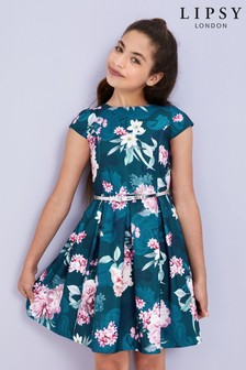 Lipsy Girl Cap Sleeve Floral Belted Dress