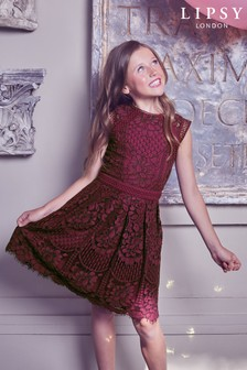 Lipsy Girl Berry VIP Lace Dress