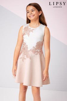 Lipsy Girl Placement Lace Scuba Dress